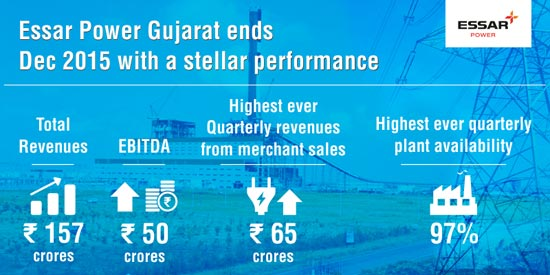 Stellar performance by Essar Power Gujarat in December 2015