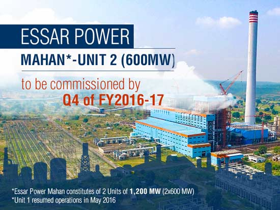 Essar Power's 2x600 MW Mahan plant plans to commission second unit by Q4 of FY2016-17